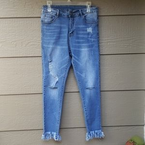 High rise distressed skinny fray hem jeans